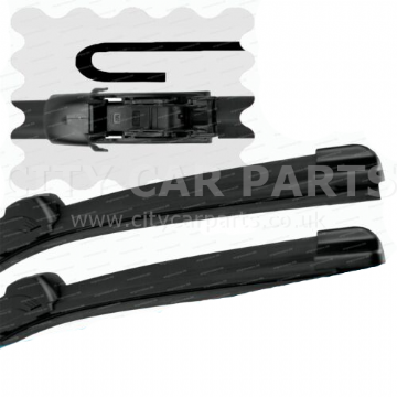 "For Ford Fiesta 2001-2007 Front Windscreen 22"" 16"" Flat Aero Wiper Blades Set"